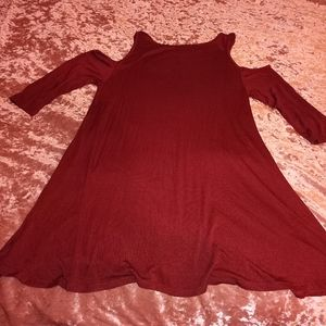 Small Red Soft Cold Shoulder Tunic Top